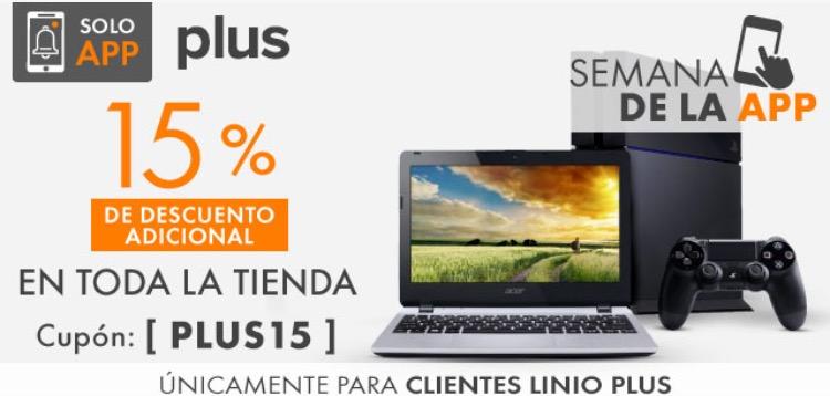 Linio: 15% de descuento en toda la tienda con Linio Plus desde la App