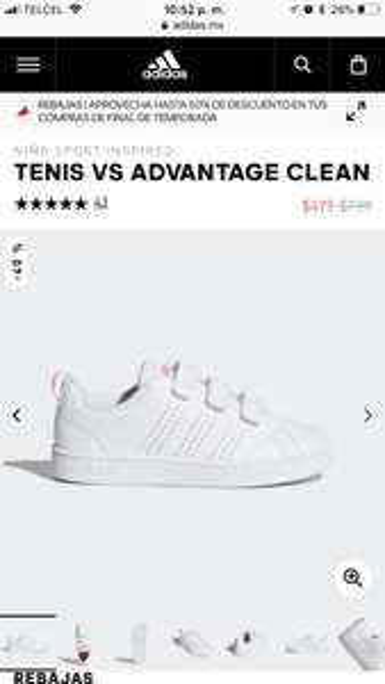 Adidas: TENIS VS ADVANTAGE CLEAN para niño (Varias tallas)