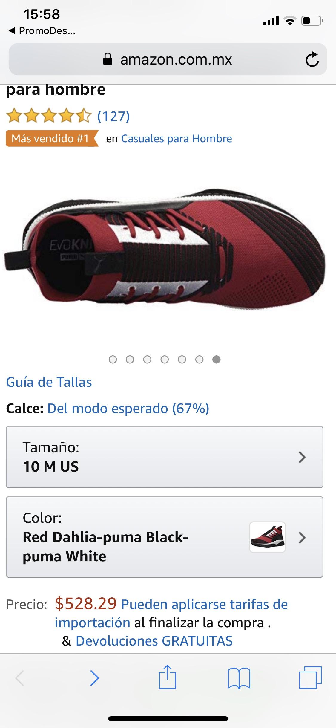 Amazon tenis puma hombre 8mx aplica Prime