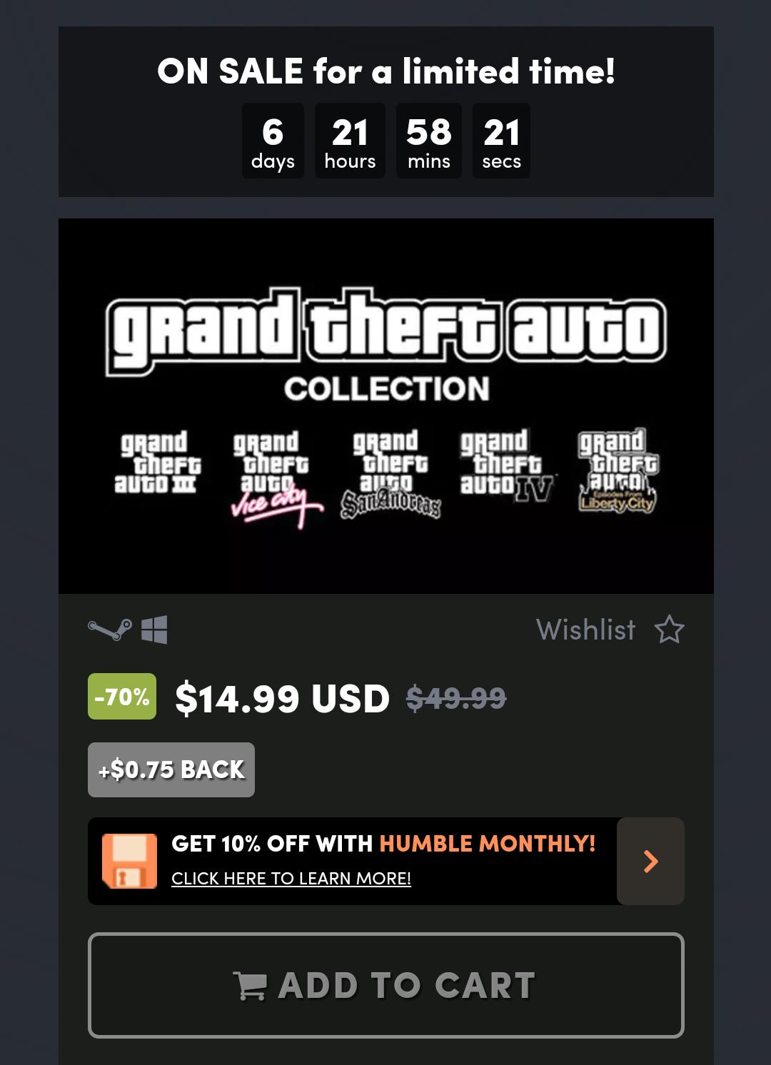 Humble bundle - GTA Collection