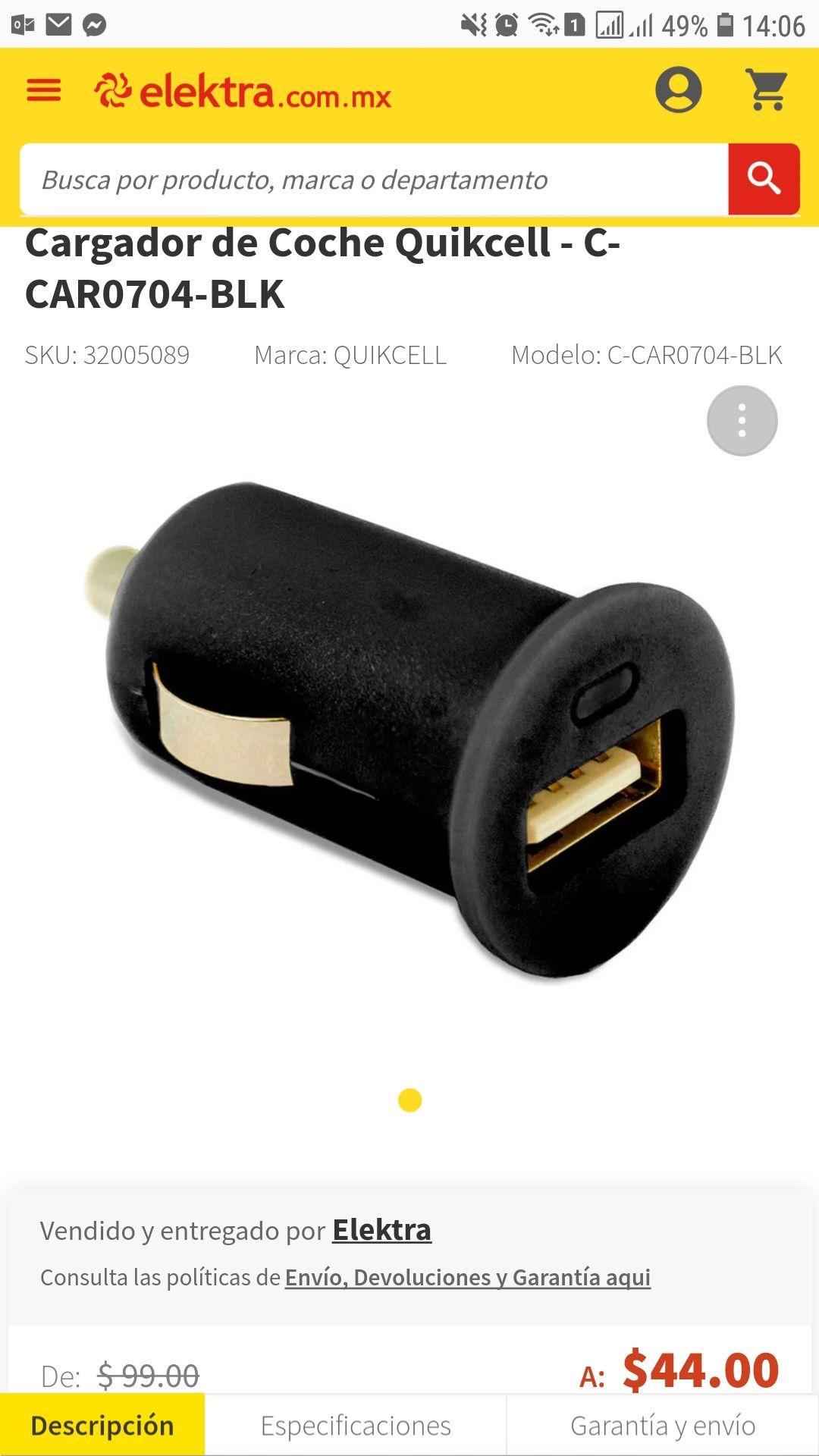 Elektra: Cargador de Coche Quikcell - C-CAR0704-BLK Envio Gratis