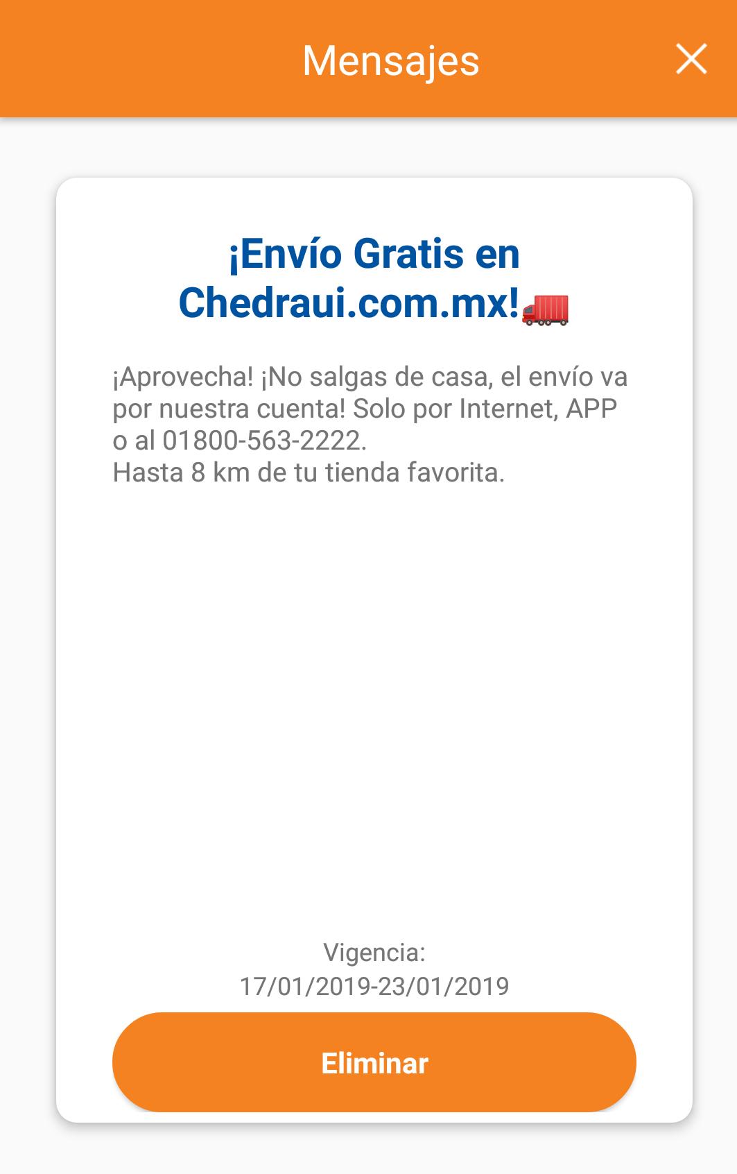 Chedraui en Línea: Envío Gratuito Solo en Línea, App o Línea Telefónica Válido al 23 Enero 2019