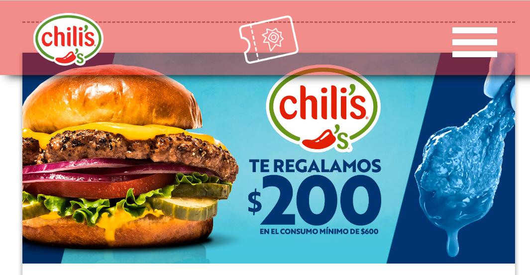 Chilli's: cupón de $200 en consumo de $600