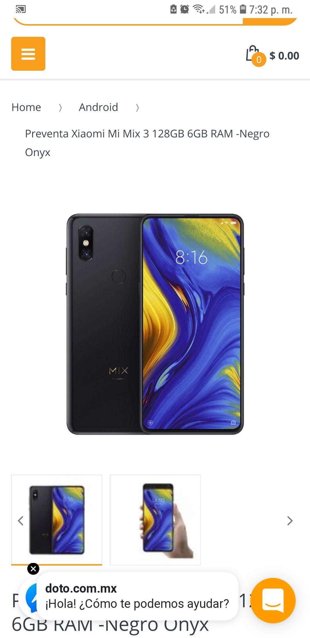 Doto: Xiaomi Mi Mix 3 6GB/128GB Negro Onyx envío DHL gratis sin aduanas