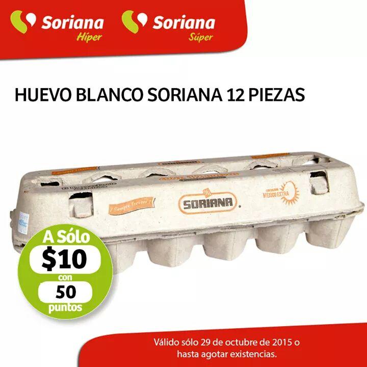 Soriana: Docena de huevos a 10 más 50 puntos