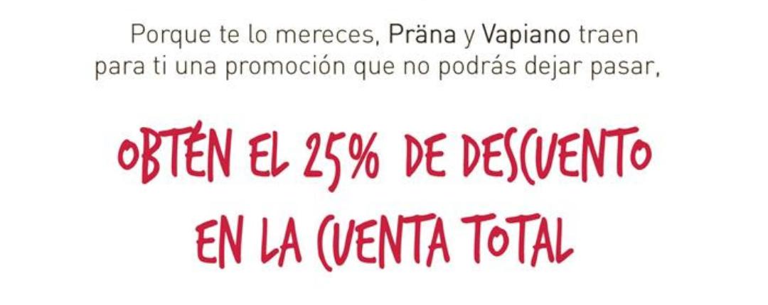 Vapiano: 25% de descuento en cuenta final en restaurante