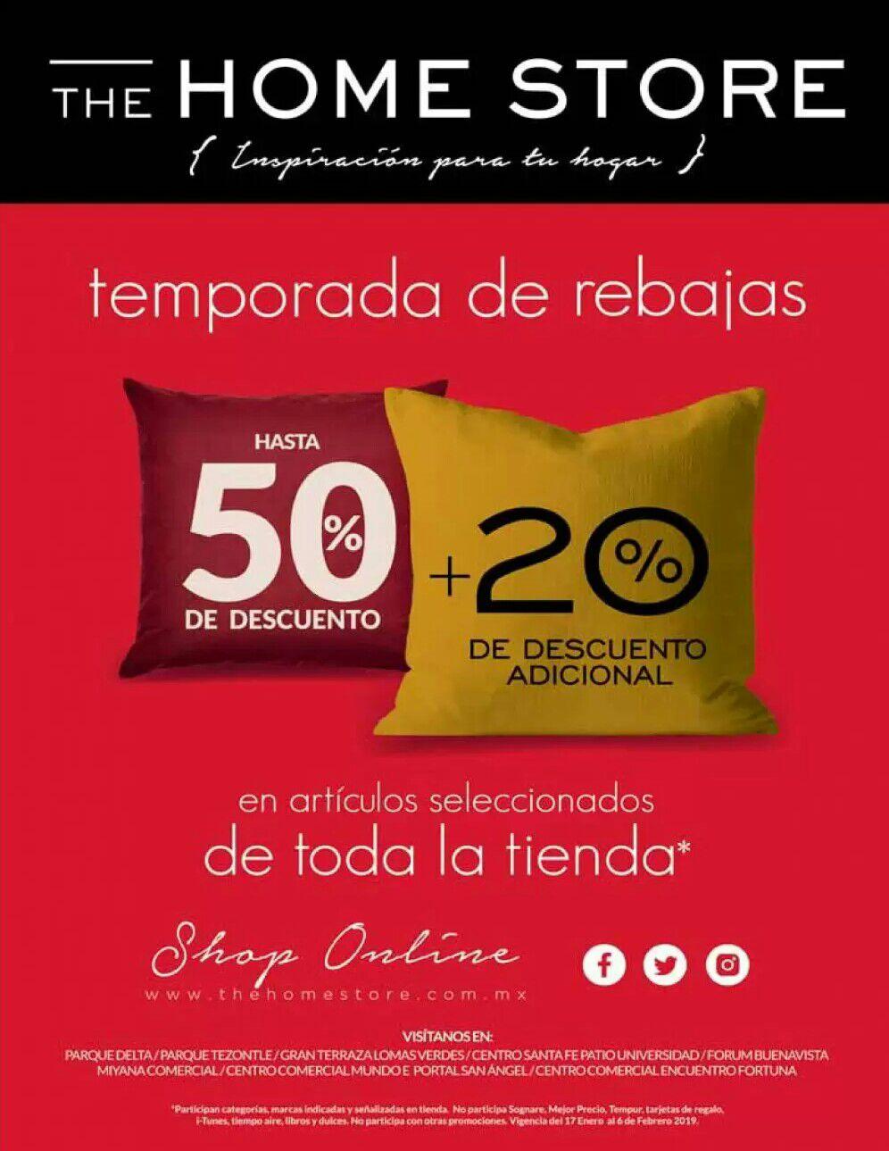 The Home Store: Temporada de Rebajas: Hasta 50% de descuento + 20% adicional en artículos seleccionados de toda la tienda