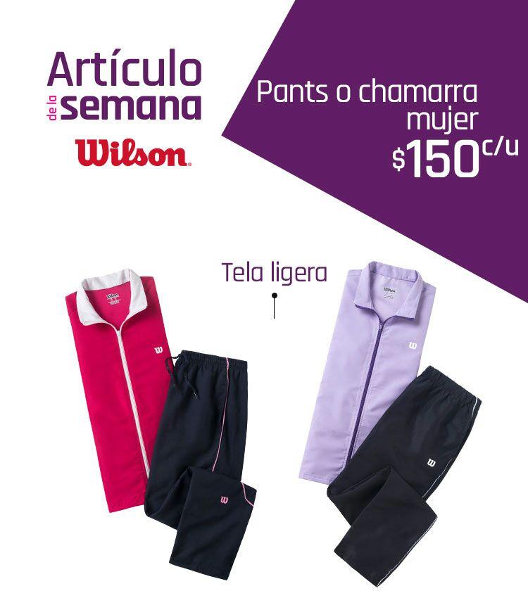 Suburbia: Artículo de la Semana: Pants o chamarra Wilson para mujer $120 c/u