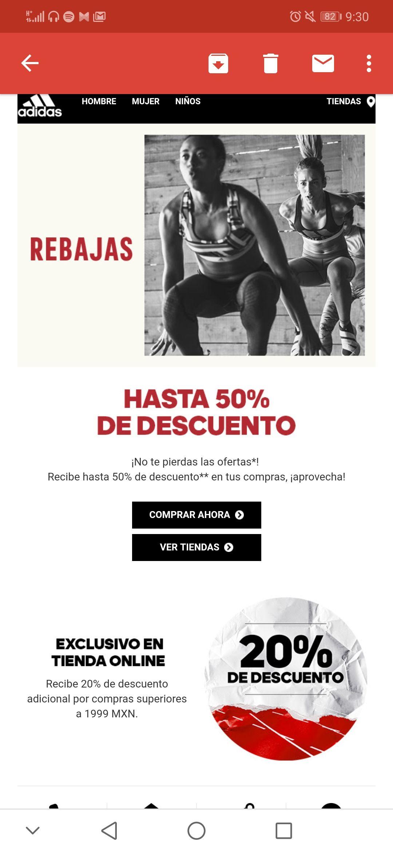 Adidas: Recibe 20% de descuento adicional por compras superiores a 1999