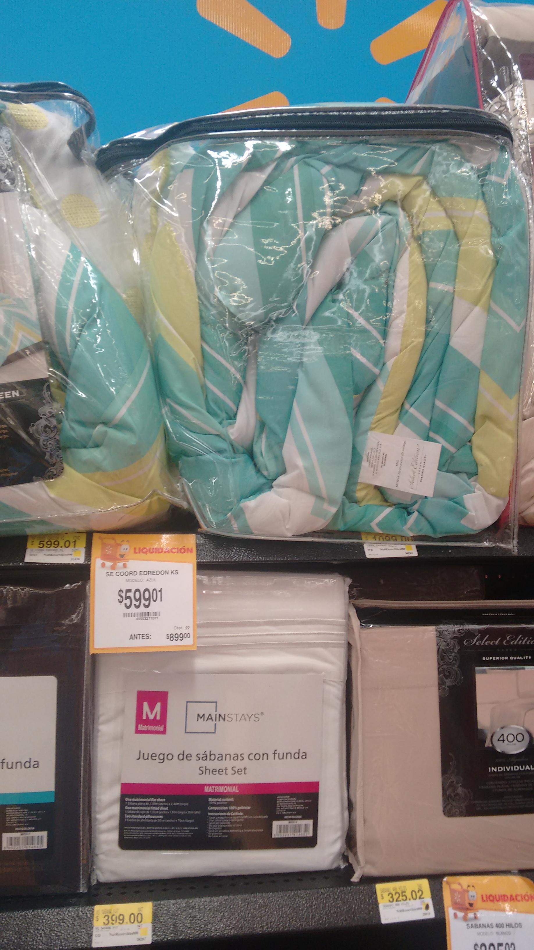 Walmart Interlomas magnocentro, juego de cama a $599.01