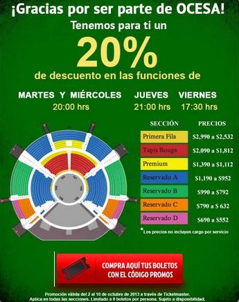 Ticketmaster: 20% de descuento patra Cirque du Soleil: Varekai
