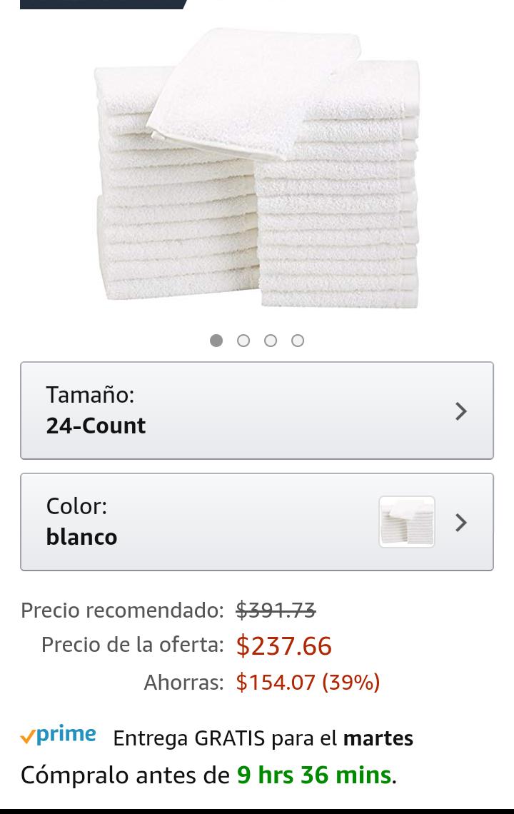 Amazon: 24 Toallas pequeñas 100% algodón