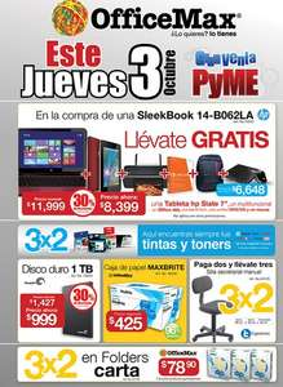 Gran Venta PYME OfficeMax (actualizado: tablet Slate 7 y Office 365 gratis comprando computadora)