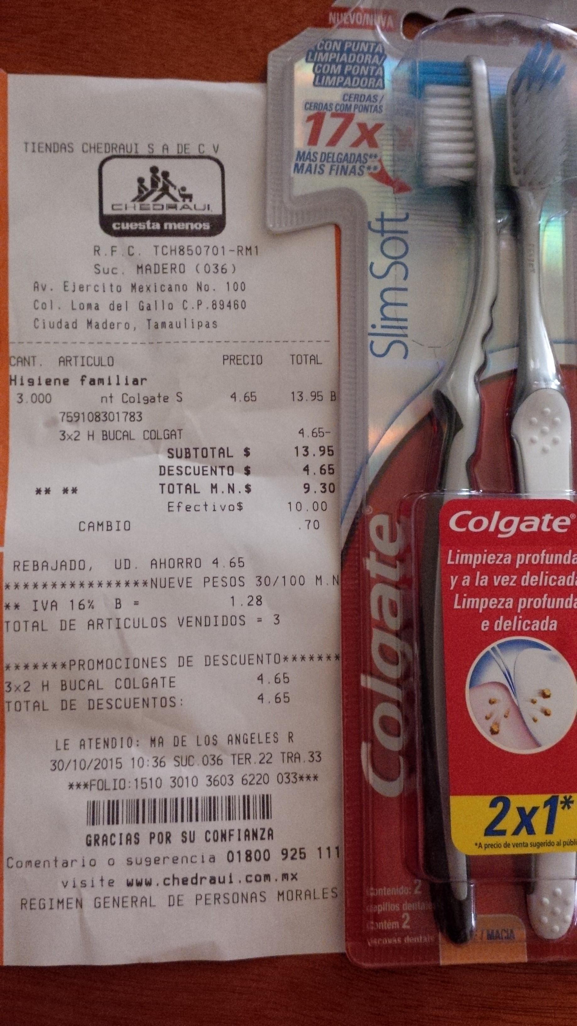Chedraui: Cepillo Colgate slim soft 2 pack