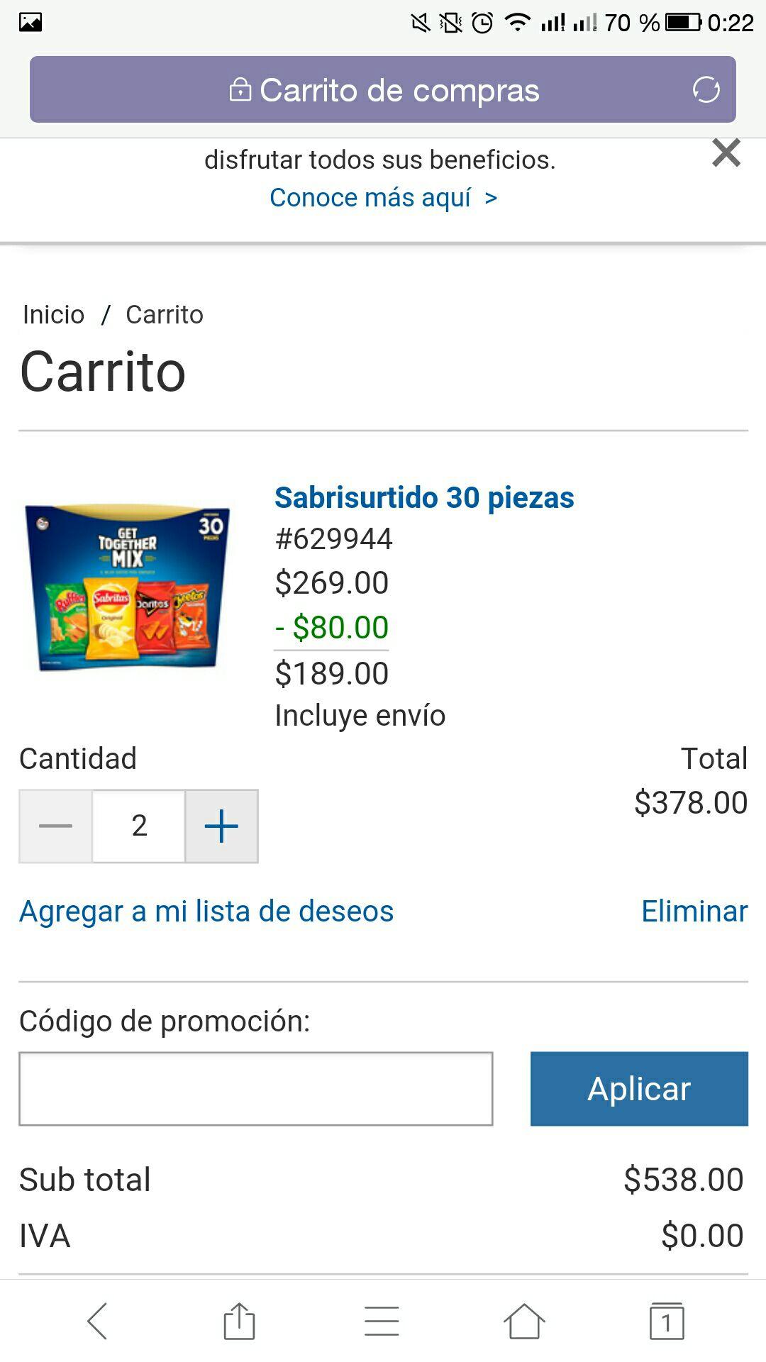 Costco online: 60 bolsas de sabritas surtidas por $378 ($6.30 por bolsa)