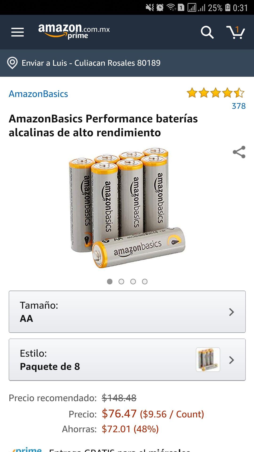 Amazon: Performance baterías AA alcalinas de alto rendimiento AmazonBasics