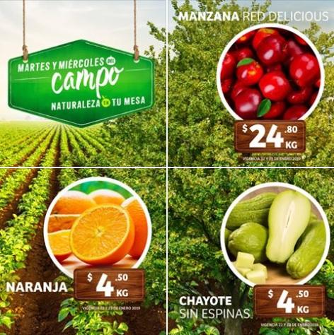 MEGA Soriana: Folleto Martes y Miércoles del Campo 22 y 23 Enero: Naranja $4.50 kg... Chayote $4.50 kg... Manzana Red $24.80 kg.