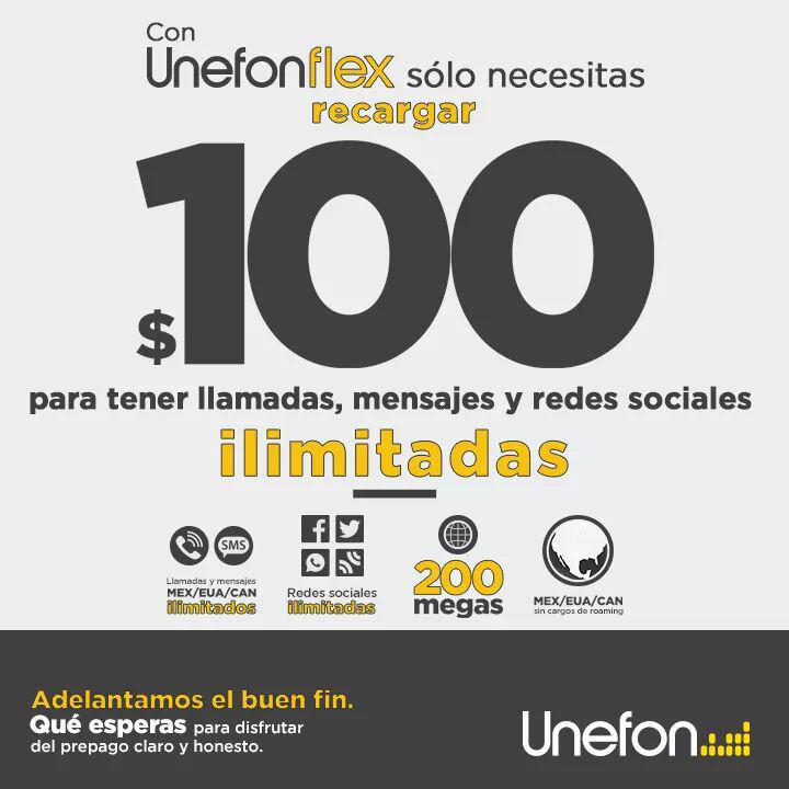 Adelanto del Buen Fin 2015 en Unefon: recarga $100 y obtén llamadas, sms y redes sociales ilimitadas + 200 megas