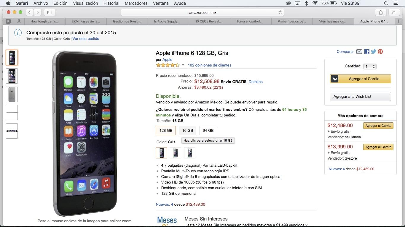Amazon: iPhone 6 128GB Gris Espacial y MSI