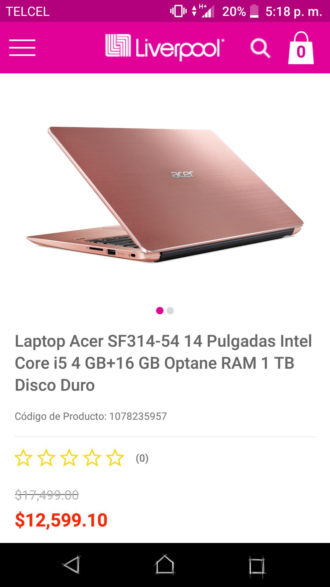 Liverpool: Laptop Acer SF314-54 -14 Pulgadas Intel Core i5 4 GB+16 GB Optane RAM 1 TB Disco Duro