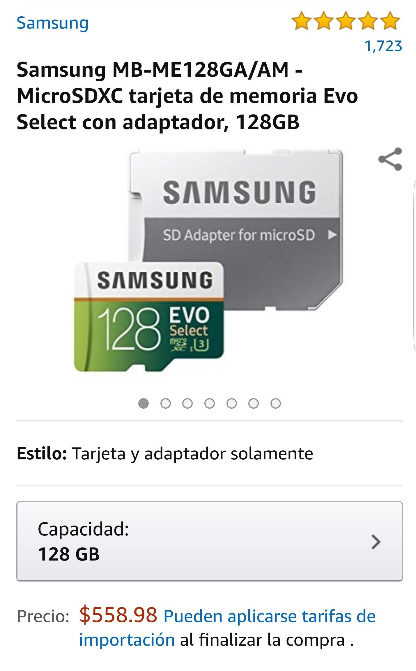 Amazon: Samsung MB-ME128GA/AM MicroSDXC Evo Select  128GB