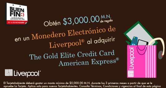Promociones del Buen Fin con American Express: $3,000 de regalo para Liverpool tramitando tarjeta