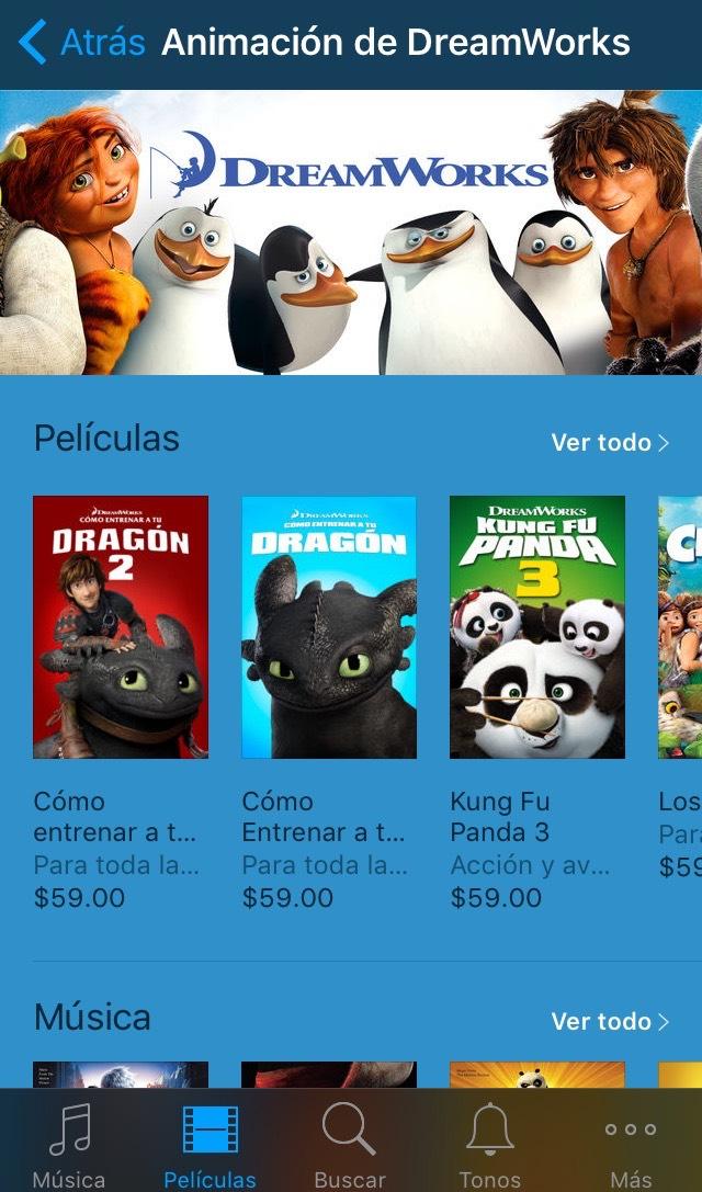 iTunes: Películas de Dreamworks en 40% de descuento