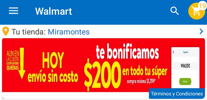 Walmart Super: $200 de bonificación en compras de $1299 (hasta el 07 de Febrero)
