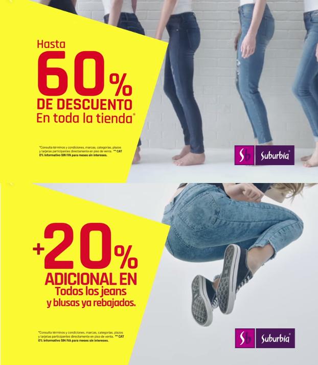 Suburbia: Hasta 60% de descuento en toda la tienda + 20% adicional en todos los jeans y blusas ya rebajados