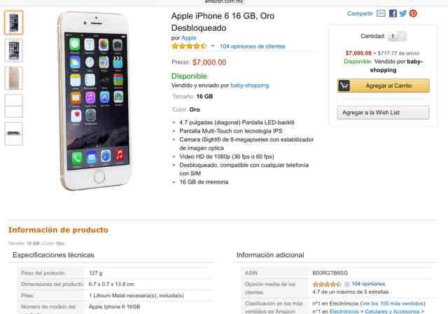 Amazon: iPhone 6 16gb Oro $7,000 + envío