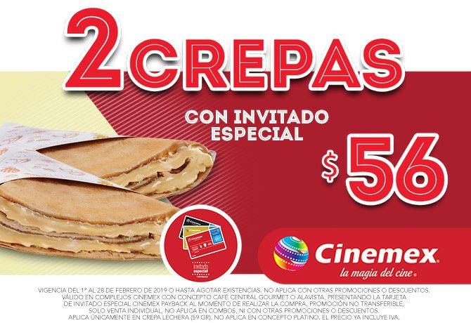 Cinemex: 2 Crepas por $56