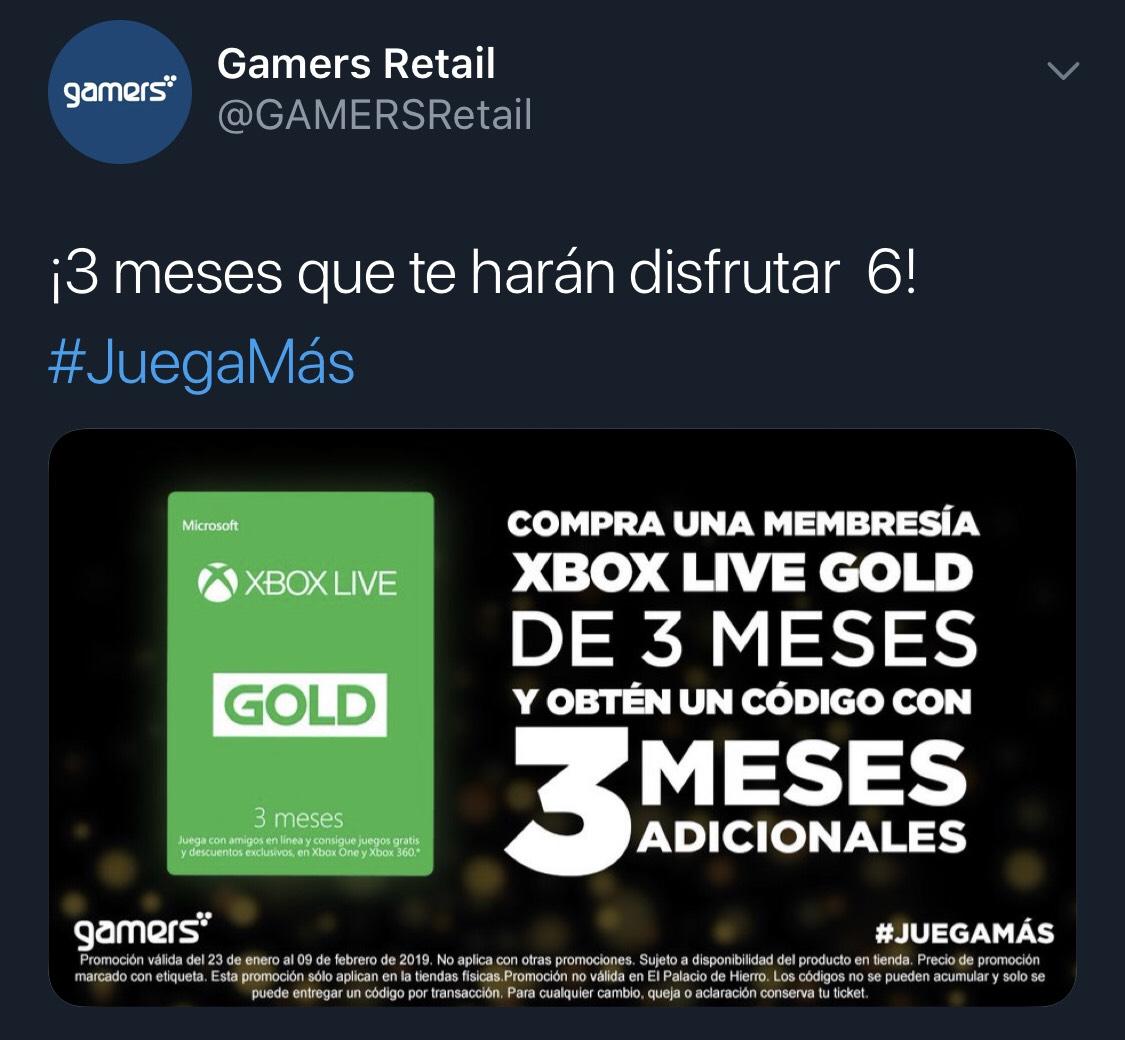 Gamers: 6 meses de Xbox Live Gold (3 y 3) en tienda