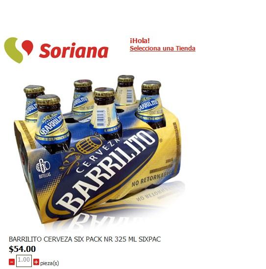 Soriana: SIX PACK  CERVEZA  BARRILITO 325 ml $54