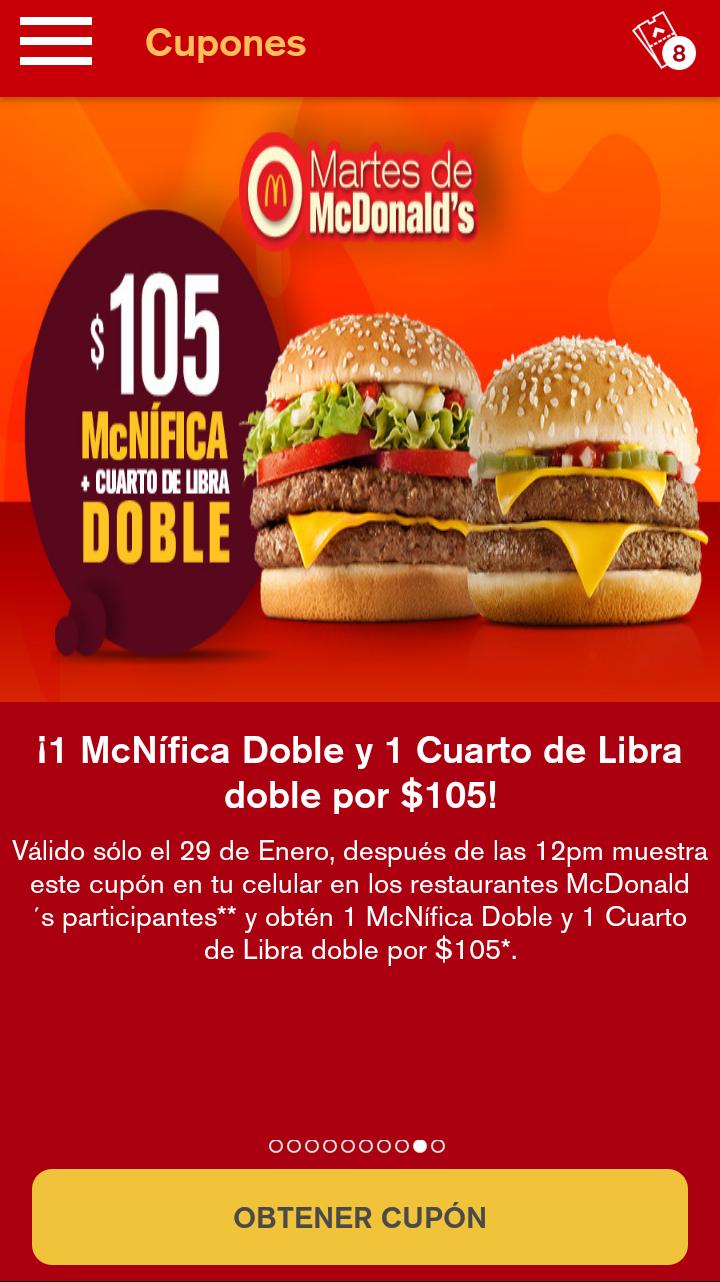 Martes de McDonald's Cuarto de Libra doble y McNifica doble por $105