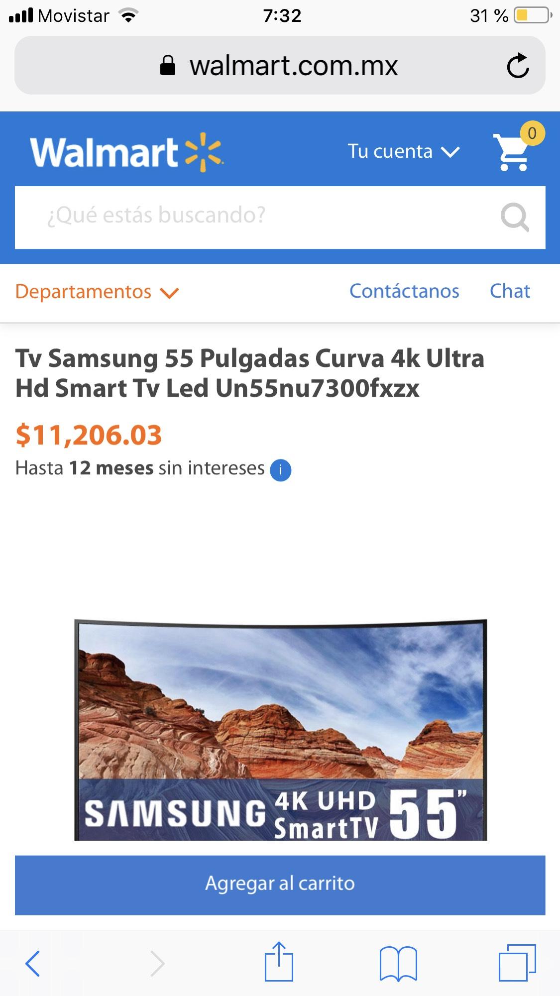 Walmart: Tv Samsung 55 Pulgadas Curva 4k Ultra Hd Smart Tv Led Un55nu7300fxzx