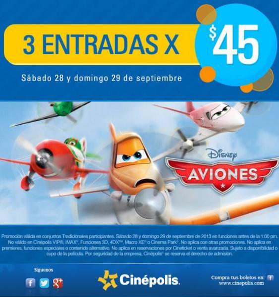 Cinépolis: 3 boletos para ver Aviones por $45 antes de la 1