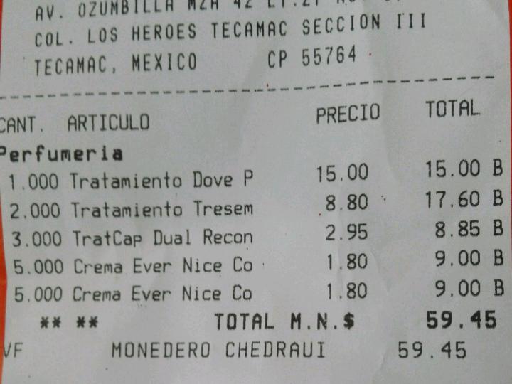 Chedraui Tecamac: Tratamiento Dove $2.95 y tresemme $8.80
