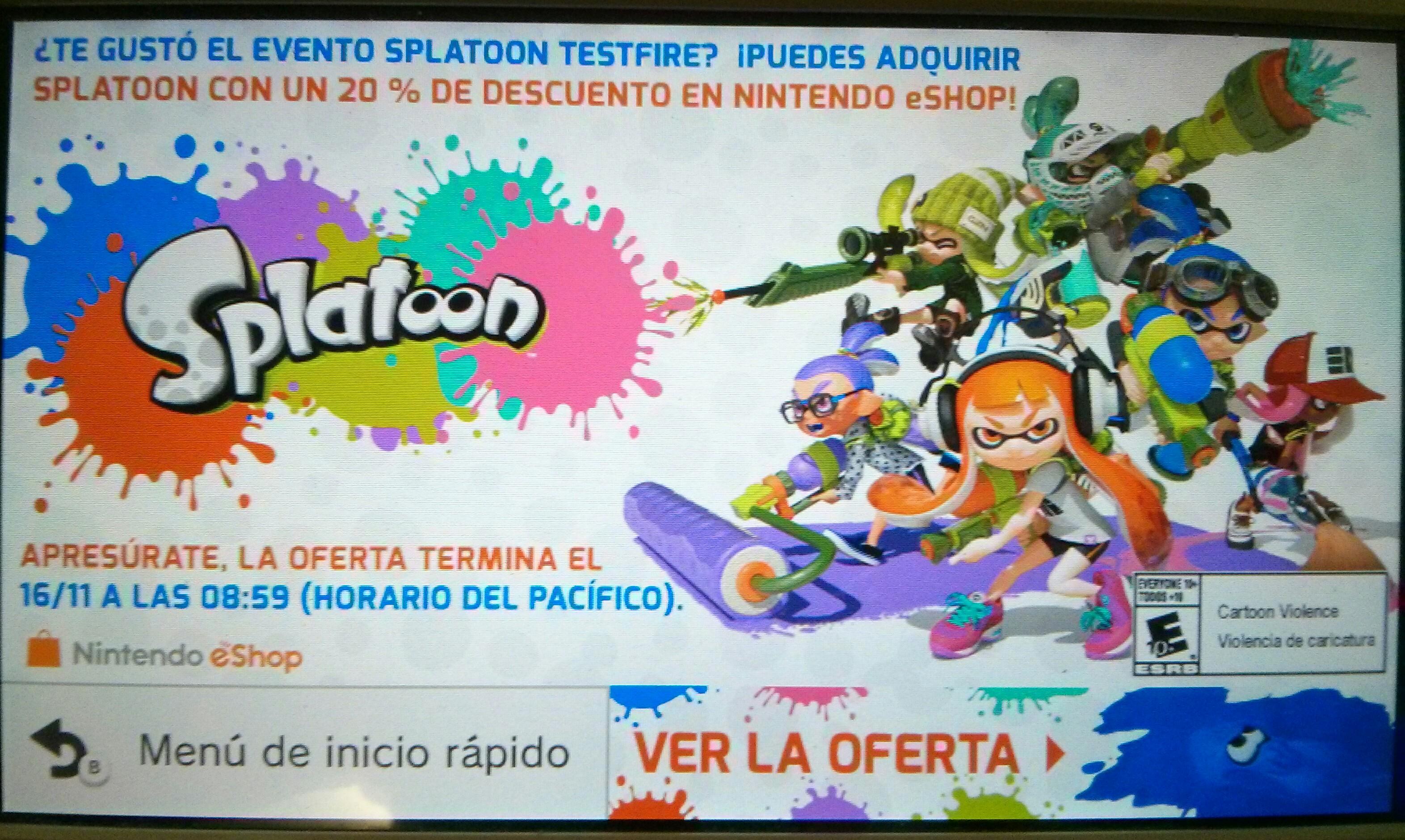 Nintendo eShop: 20% de descuento al comprar Splatoon digital si jugaste la demo
