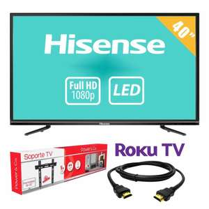 "WALMART ONLINE: TV Hisense 40"" Full HD LED Roku Smart TV mas Soporte y HDMI"