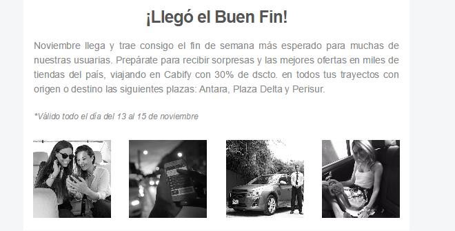 Oferta del Buen Fin 2015 en Cabify: 30% de descuento en viajes con destino a Perisur, Antara, y Plaza Delta