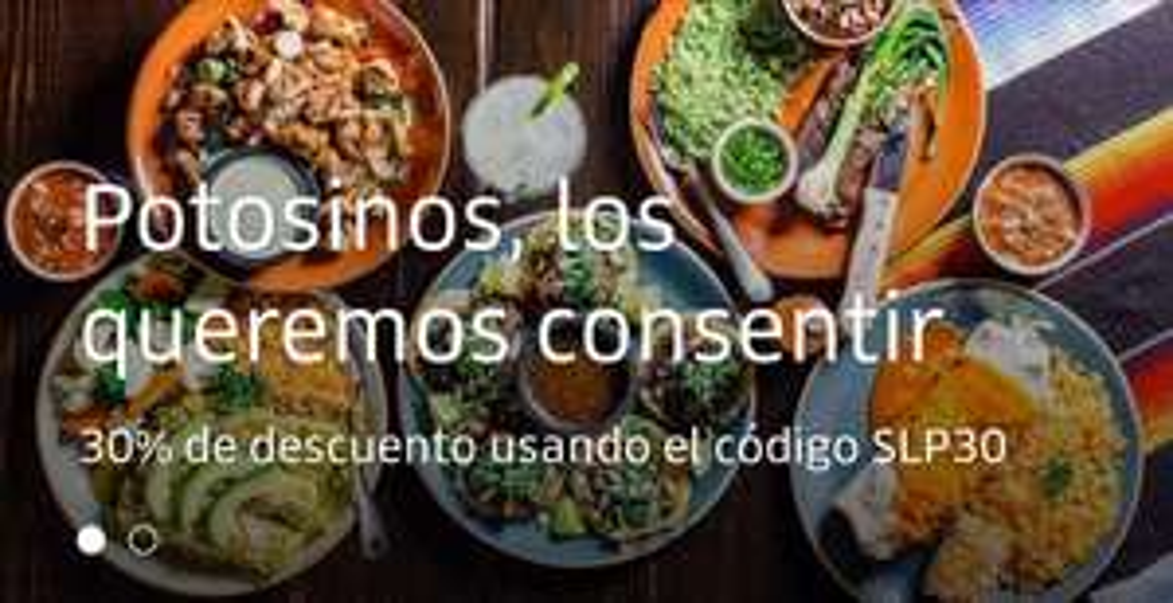 Uber Eats 30% de descuento. Solo San Luis Potosí