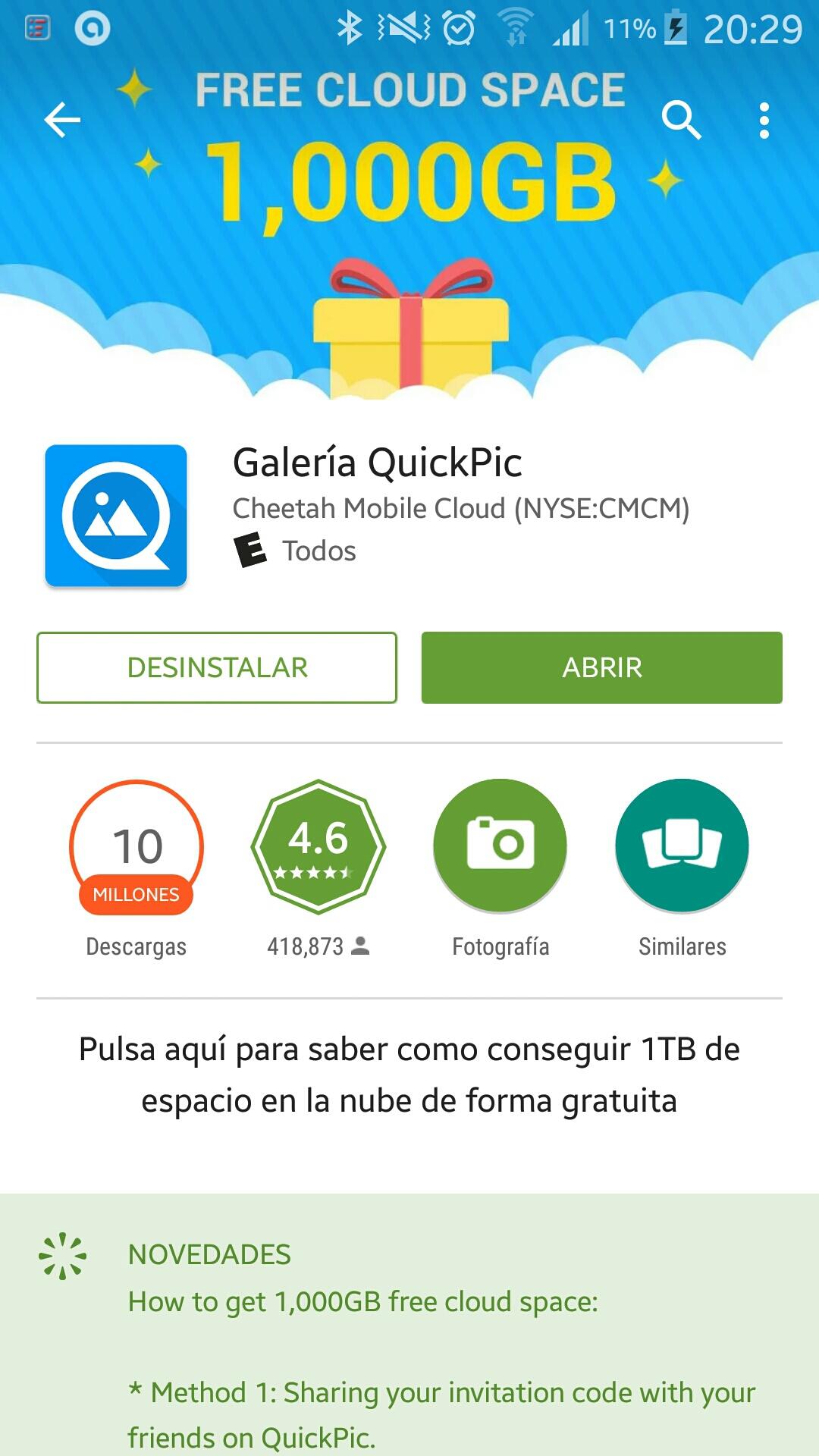 Galería Quick Pic hasta 5 TB de almacenamiento gratis