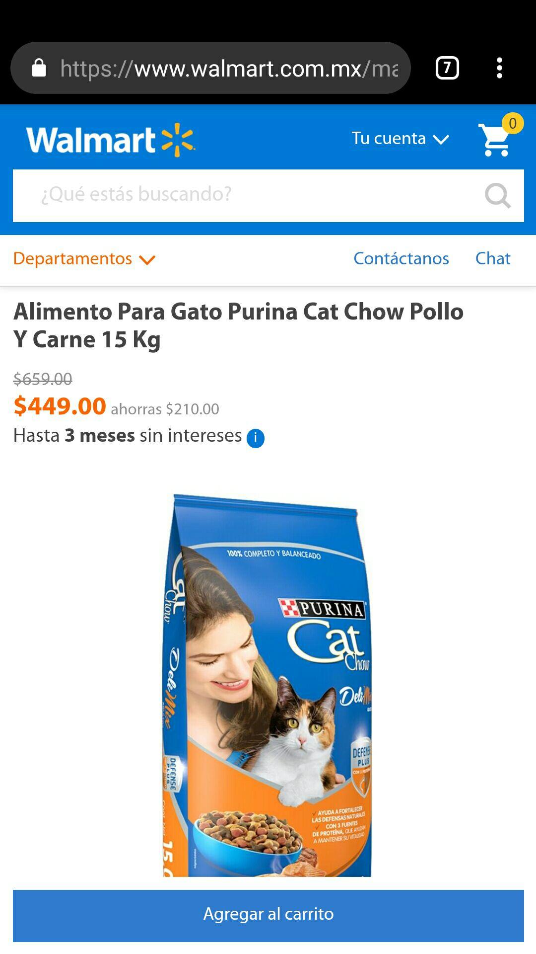 Walmart online: Purina Cat chow pollo y carne 15 kg envío gratis!!!