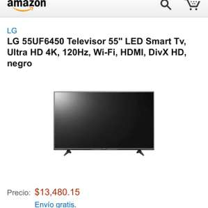 Amazon: pantalla LG 55 pulgadas uhd 4K smart tv a $13,480
