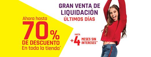 Suburbia: Gran Venta de Liquidación: Hasta 70% de descuento en toda la tienda + hasta 4 MSI