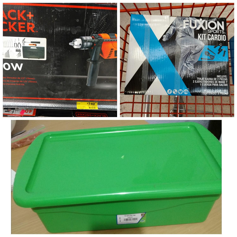 Soriana H: caja, taladro, kit de ejercicio