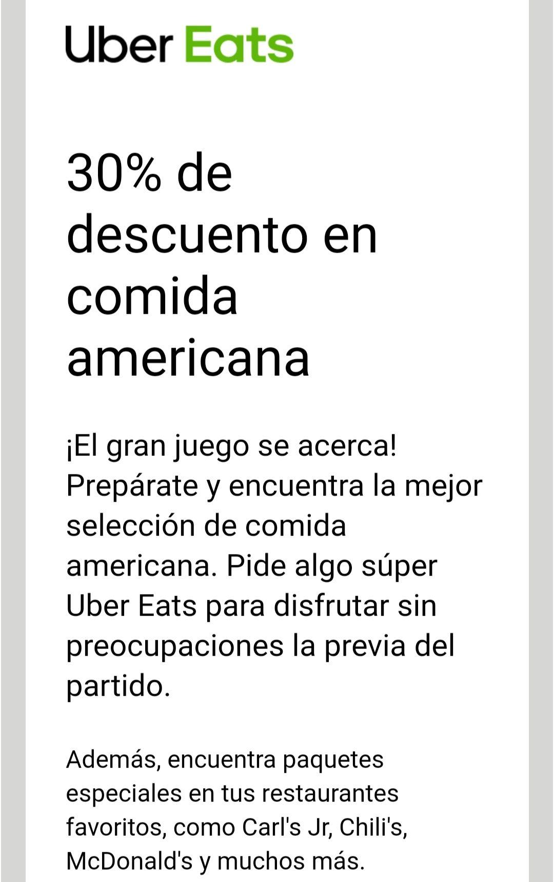 Uber Eats: 30% de Descuento en comida
