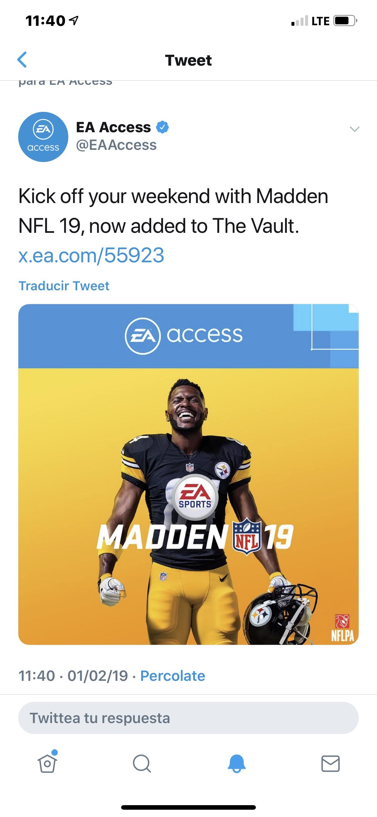 Microsoft Store: Ea access : Madden NFL 19 Xbox one, gratis para los que tengan la membresía