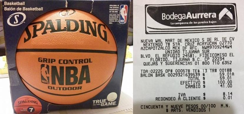 Bodega Aurrerá: Balon basquetbol Spalding $59.01