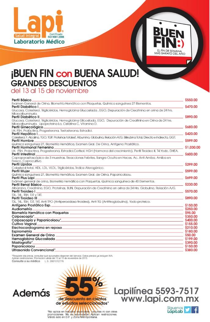 Promociones del Buen Fin 2015 en Laboratorios Lapi (DF)